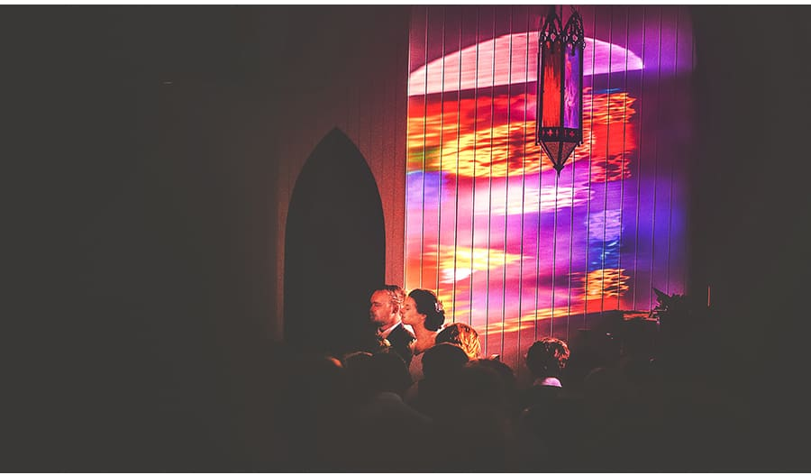 James & Lauren - Stained Glass window light - Broadway Chapel