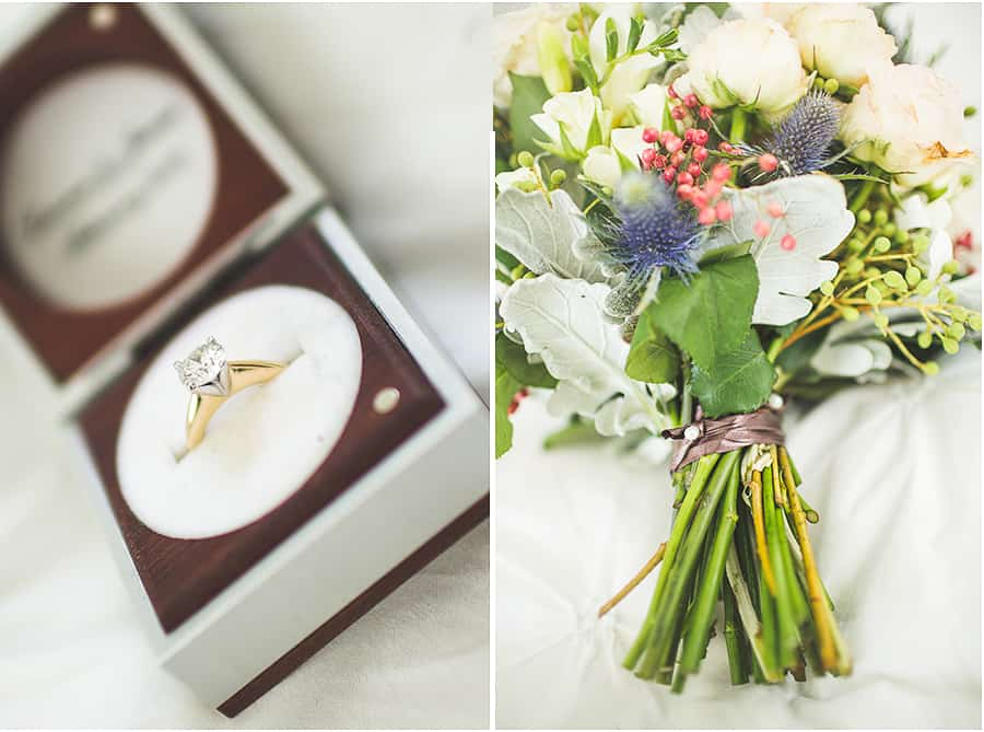 Laurens bouquet and wedding rings.