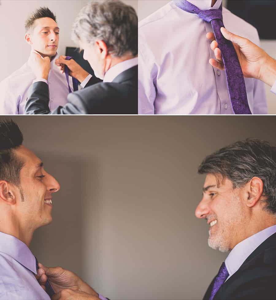Best man making Gabriel's tie