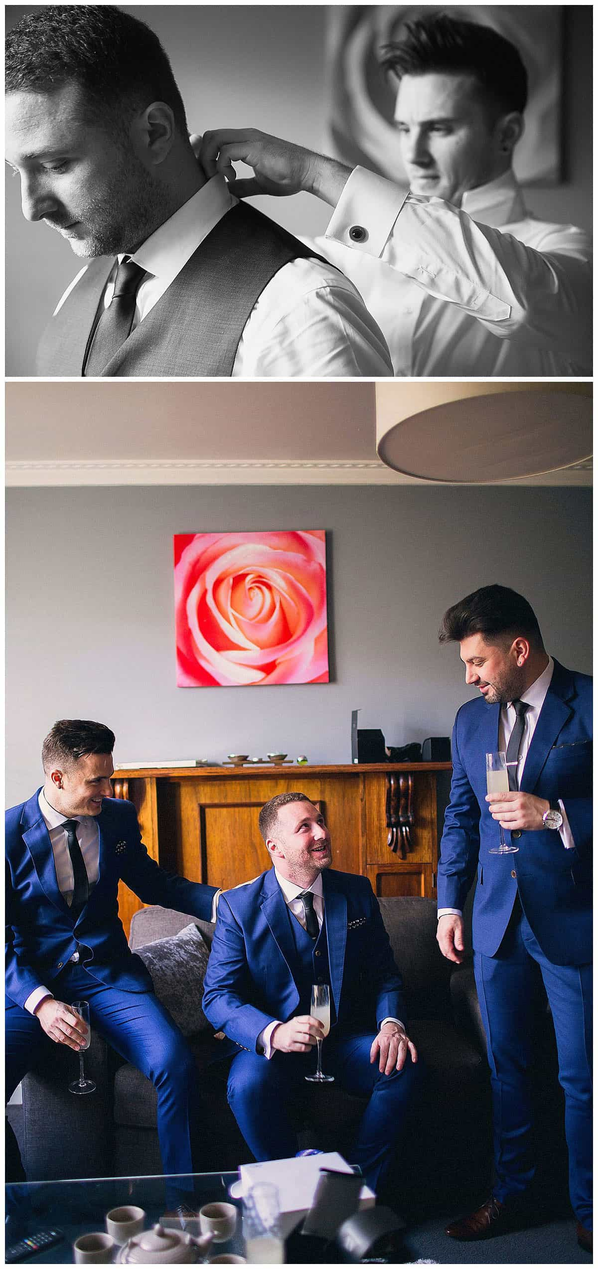 Davor and his groomsmen relaxing before the ceremony