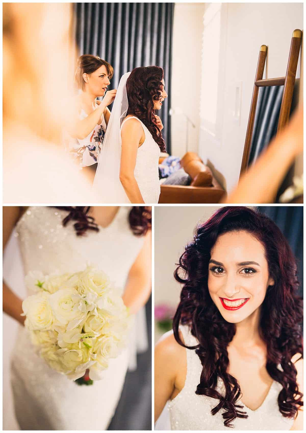 Natasa Getting Ready - Beautiful White Rose Wedding Bouquet