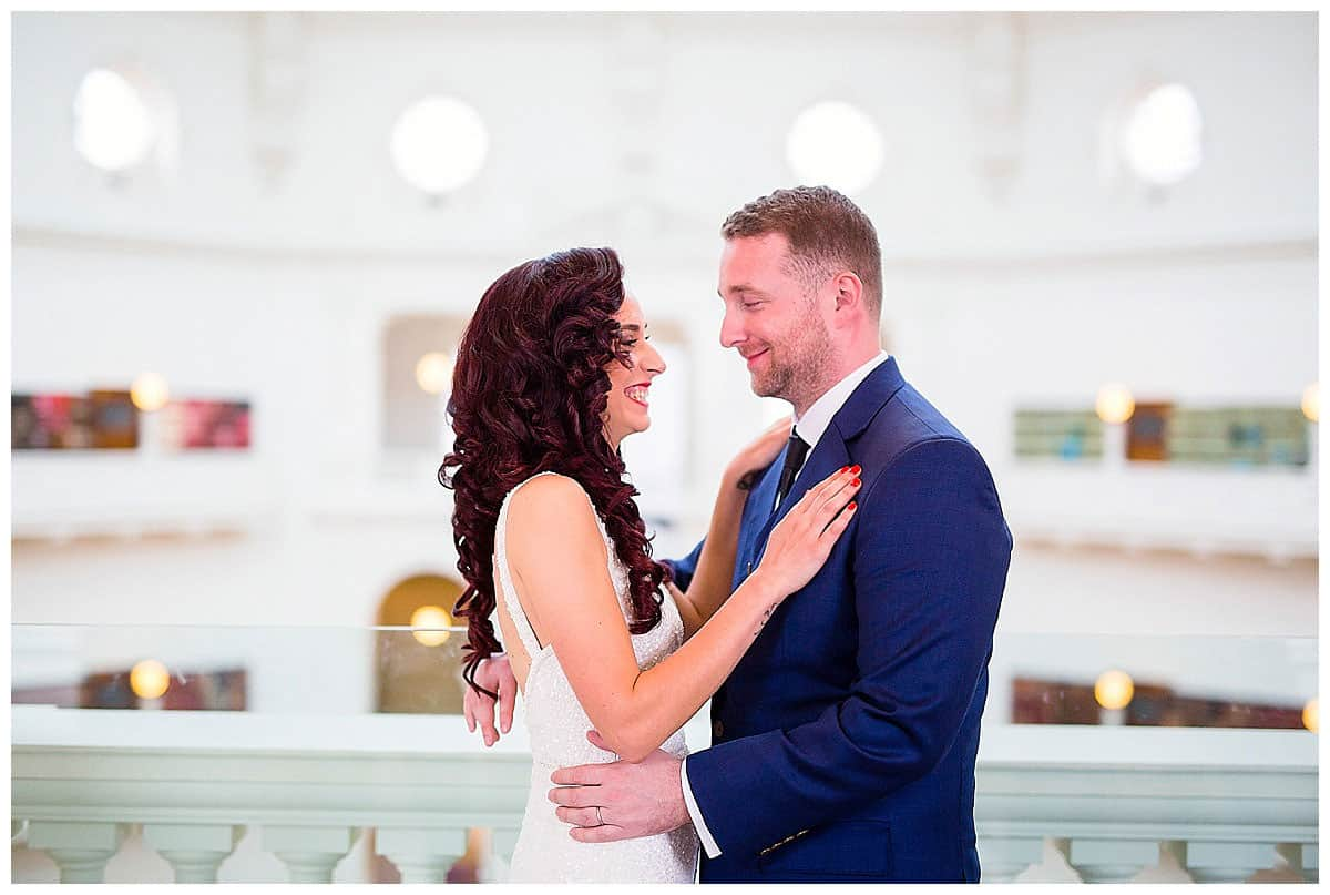 Natasa and Davor's wedding Couple walk through Melbourne State Library
