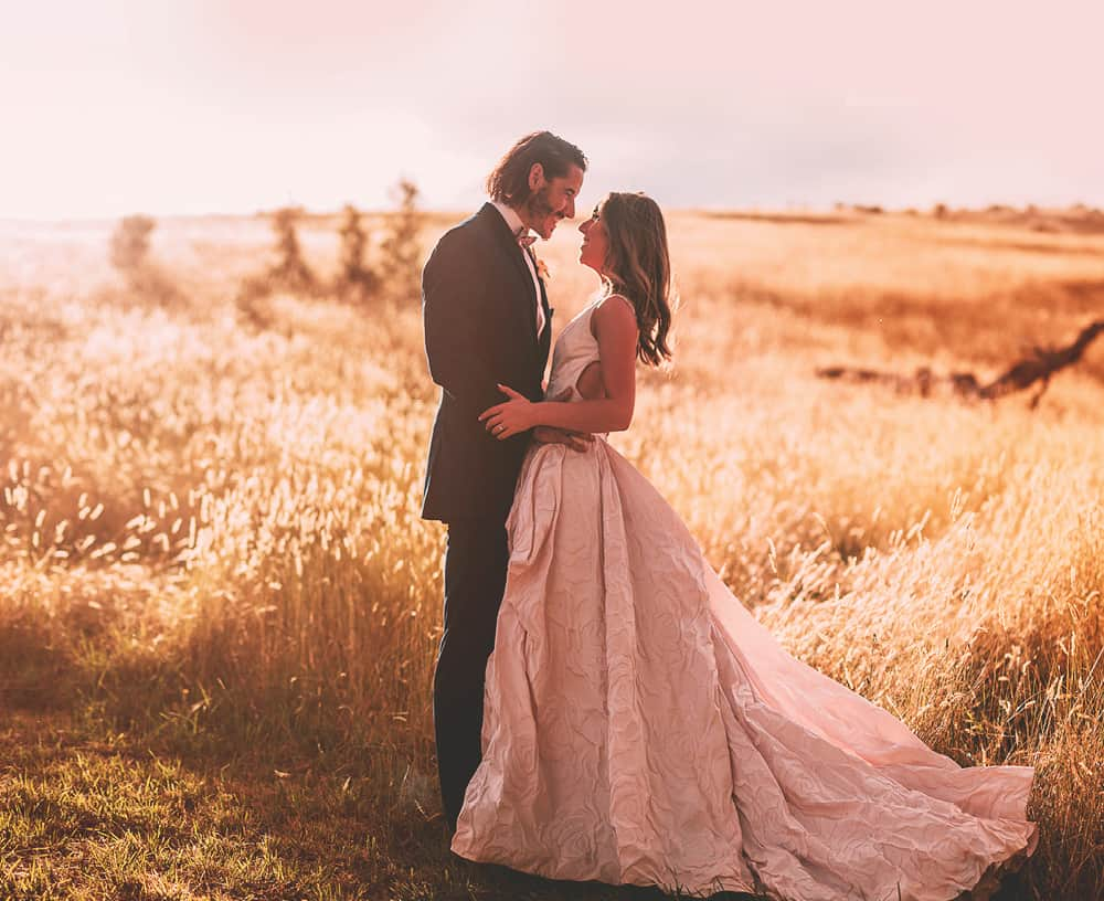 Mansfield Wedding Victoria - Sunset Portrait with Bride & Groom