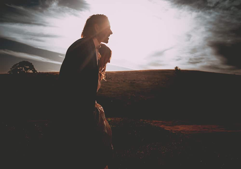 Country sunset of silhouetted Bride & Groom, Mansfield Wedding Victoria - Hacking Creative Wedding Photography